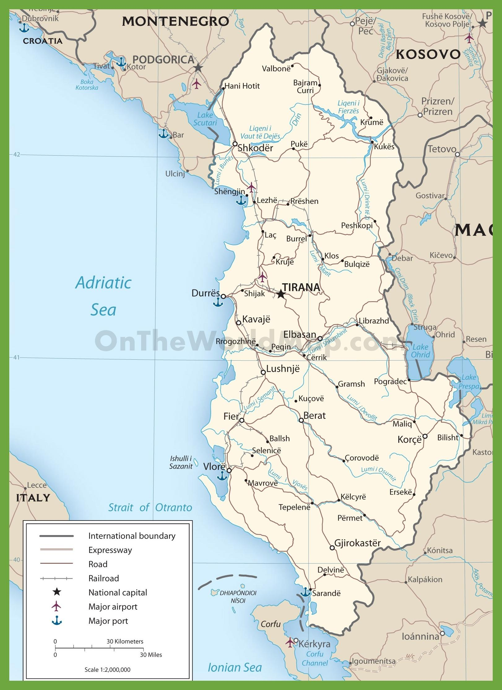 Karte Albanien.Albanien Straßenkarte Albanien Straßen Karte Europa Süd Europa